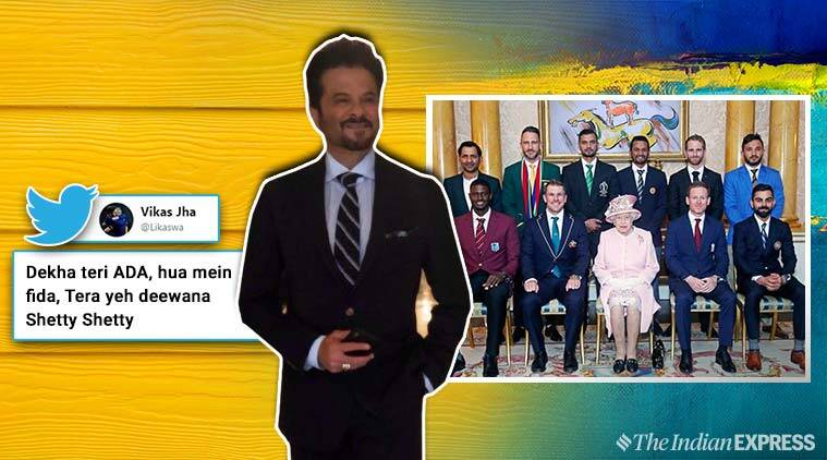 world cup 2019, cricket world cup 2019, anil kapoor, queen with captains photos, cricket captains with queen elizabeth, anil kapoor majnu bhai painting, world cup memes, funny news, sports news, entertainment news, indian express