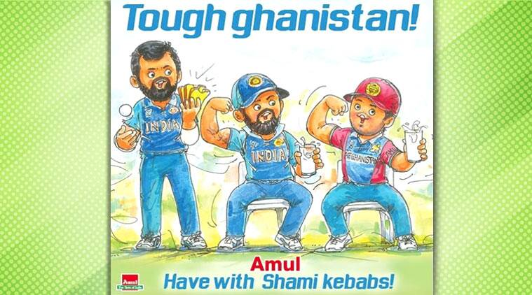 Amul cartoon, , ICC cricket world cup 2019, indian vs afghanistan, mohammed shami hattrick, trending now, indian express