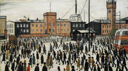 A Cricket Match, English artist L S Lowry, painting of cricket, Lowry's artistic finesse