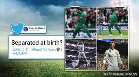 ICC World Cup 2019, world cup 2019, Ban vs Aus, Soumya Sarkar, Cristiano Ronaldo, Ronaldo signature pose, Soumya imitates Ronaldo, Ronaldo pose news, Indian express