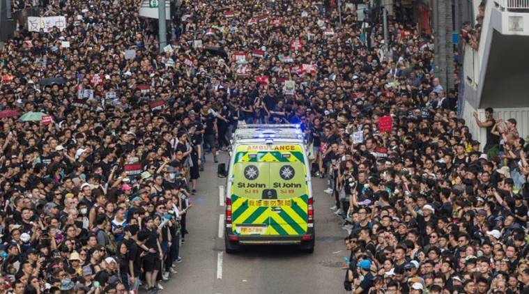 Video of Hong Kong protestors giving way for an ambulance garners praise online