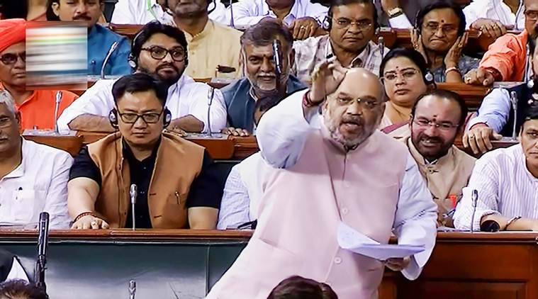 Amit Shah, Lok Sabha, J&K elections, Jammu & Kashmir, Amit Shah on J&K, J&K president's rule, what is president's rule, Kashmir, Pakistan, Terrorism, J&K election, India news, Indian Express