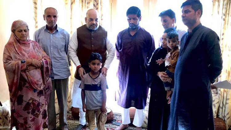 In first visit to Kashmir as Home Minister, Amit Shah visits family of SHO killed in militant attack