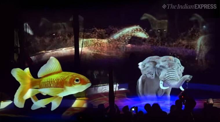 circus animals, ciircus use 3d animals, circus use hologram animals for show, Circus Roncalli, Circus Roncalli hologram animals, german circus hologram animals, cruelty free Circus Roncalli, viral news, good news, indian express