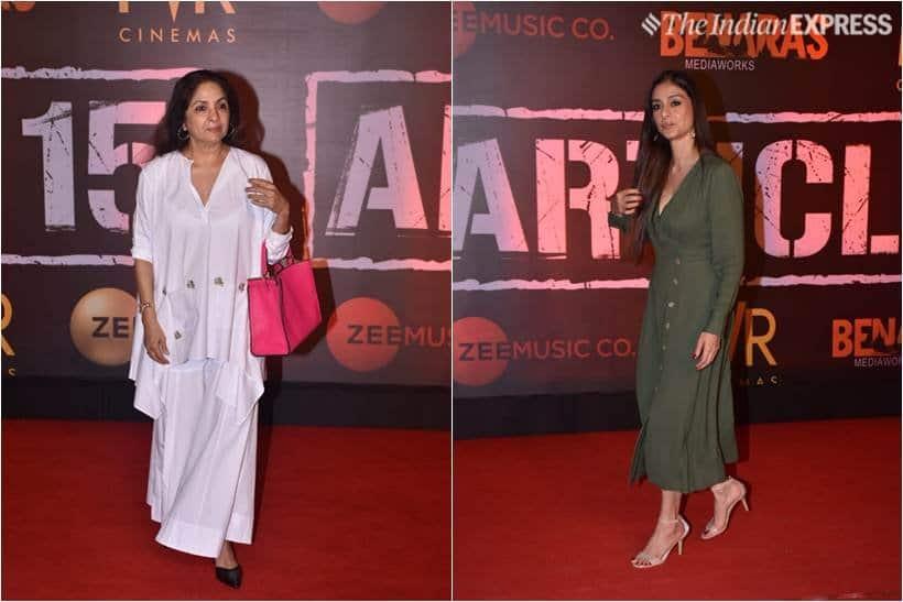 tabu and neena gupta at article 15 screening