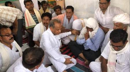 barmer pandal collapse, rajasthan cm, ashok gehlot in barmer, Jasol pandal collapse, barmer accident, barmer news, rajasthan news, indian express