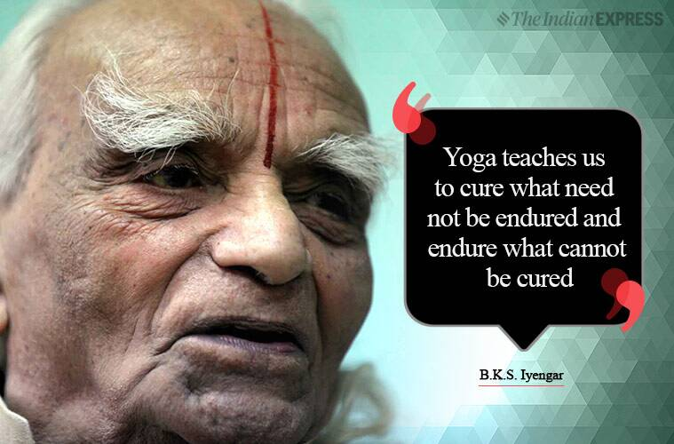 Bellur Krishnamachar Sundararaja Iyengar, B K S Iyengar, indianexpress.com, indianexpressonline, indianexpressnews, indianexpress, life positive, yoga day 2019, yoga day, yoga day, B K S Iyengar on yoga, BKS, Iyengar yoga benefits, what is iyengar yoga, iyengar yoga health news, iyengar yoga founder, who is BKS, inspiring thoughts, yoga love, thoughtful messages, good morning wishes, good morning world, yoga benefits, are yoga asanas good, which yoga asanas to try, Iyrngar yoga asanas, mind yoga, body yoga, self yoga, mindfulness, awareness, BKS Iyengar inspiring videos, Yoga Iyengar, Iyengar Yoga techniques, motivating BKS Iyengar video, BKS Iyengar Pune, yoga guruji BKS Iyengar, BKS Iyengar legacy Pune, Iyengar yoga Pune, Iyengar Yoga techniques, how to perform iyrngar yoga, Iyengar Yoga community, iyengar yoga teaching in india, B K S Iyengar India, guru-shishya yoga, yoga day wishes, yoga day messages, yoga day inspiring thoughts, yoga day quotes,