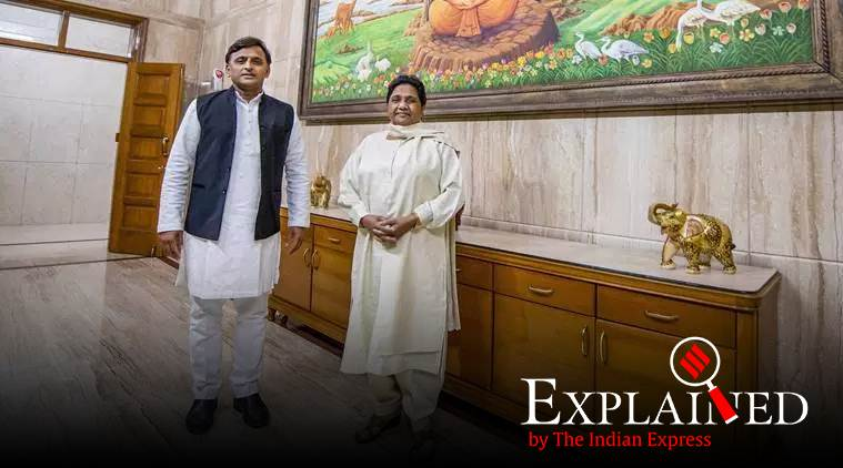 Samajwadi Party President Akhilesh Yadav and Bahujan Samajwadi Party chief Mayawati at latter's residence, in Lucknow. (PTI)