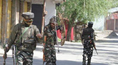 A joint team of the bravo company of CRPF's 116th battalion and state police were deployed for picket duty in the area when the attack took place.(Express Photo by Shuaib Masoodi)