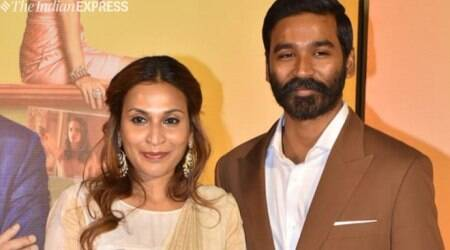 Dhanush with his wife Aishwaryaa Dhanush for The Extraordinary Journey of the Fakir trailer launch,