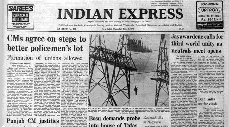 The Indian Express' front page on June 7, 1979