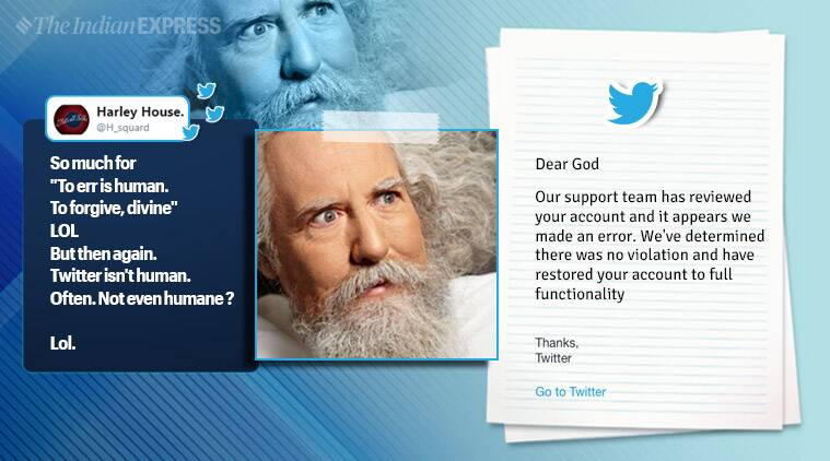 TheTweetOfGod, twitter, twiiter god account, twitter god punny tweets, twiiter suspends god account, god twitter account restore reply, funny news, viral news, indian express