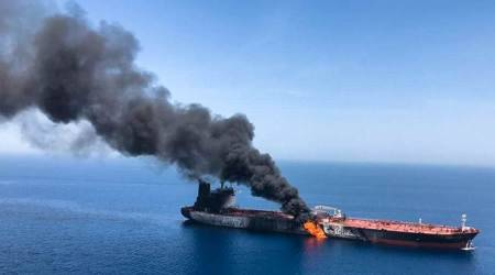 Strait of Hormuz, Strait of Hormuz oil, Oil tanker attack, Oil tanker attack in Oman, Oman oil tanker attack, World news, Indian Express news, Latest news