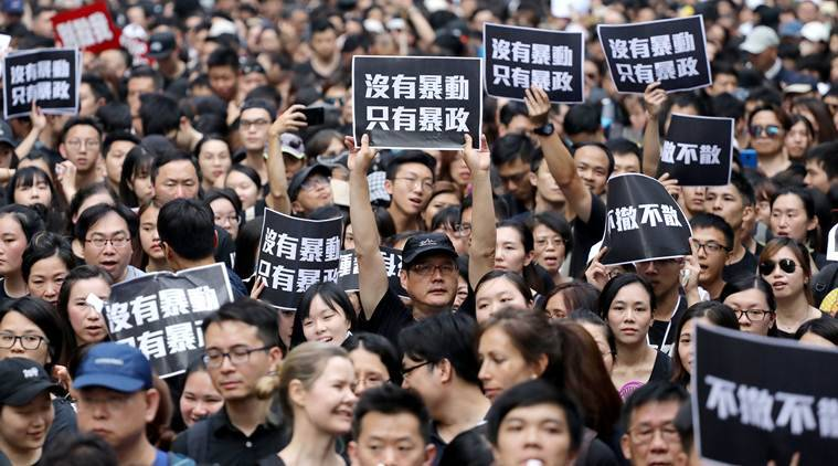 Hong Kong, Hong Kong protest, Hong Kong news, Hong kong protest news, protest Hong Kong, Carrie Lam, Carrie Lam Hong Kong, Hong Kong Carrie Lam, Carrie Lam news, Hong kong black protest, Carrie Lam step down, Carrie Lam resignation, world news, indian express, latest news