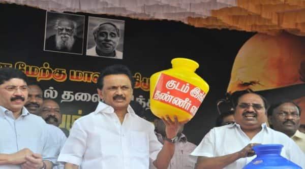 Stalin, DMK, DMK protests, Chepauk, water crisis