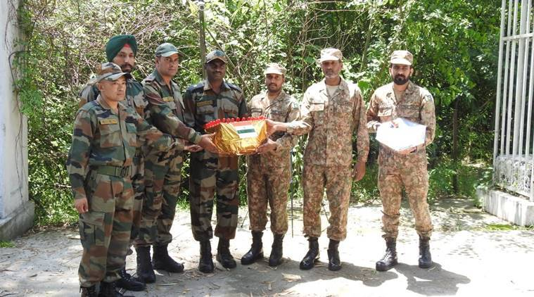 Indian and Pakistani armies exchange sweets on the occasion of Eid-ul-Fitr