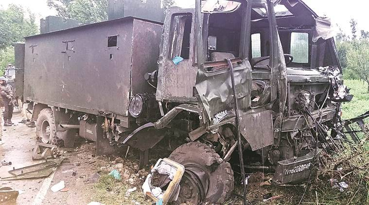 Indian army attacked south kashmir major killed car bomb hits vehicle kashmir