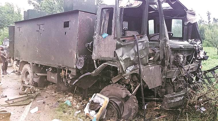 Attacks in South Kashmir: Major killed, car bomb hits Army vehicle in Valley