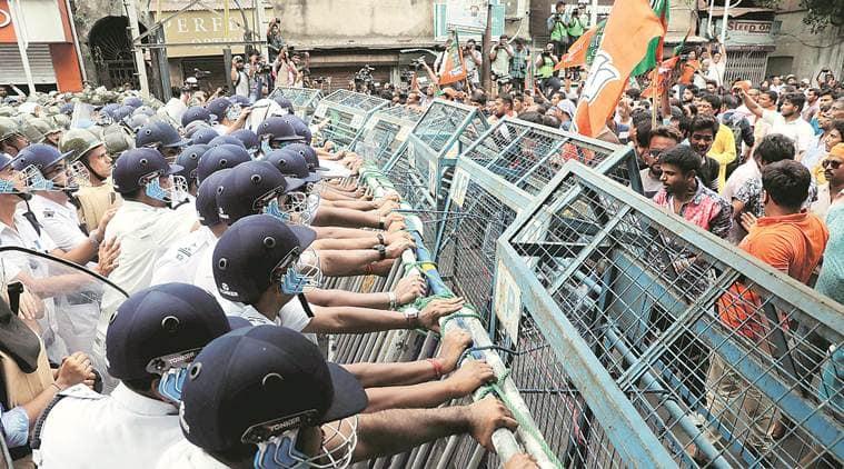 bengal hospital clashes, NRS hospital kolkata west bengal, bengal doctors strike, Nilratan Sircar Medical College kolkata, bjp bengal protests, tmc, trinamool congress, bjp in bengal, west bengal bjp, clashes in west bengal, bjp tmc clashes, west bengal government, india news, Indian Express