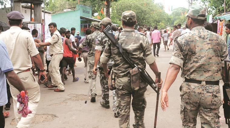 Security personnel at Bhatpara in North 24 Parganas. Express