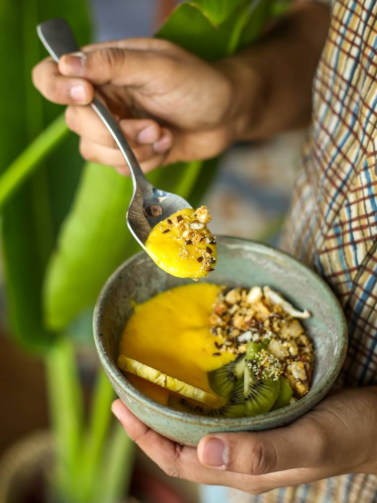 mango smoothie bowl, delicious mango recipe, mango recipes, indian express