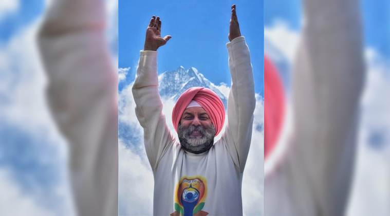 Envoy to Nepal leads yoga practice above Everest base camp