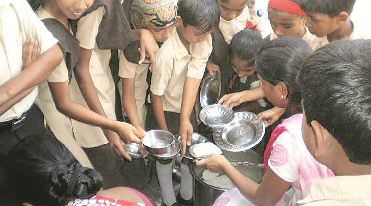 mid day meal, mirzapur mid day meal, mirzapur students video, school headmaster suspended, students served roti and salt, lucknow news, indian express news
