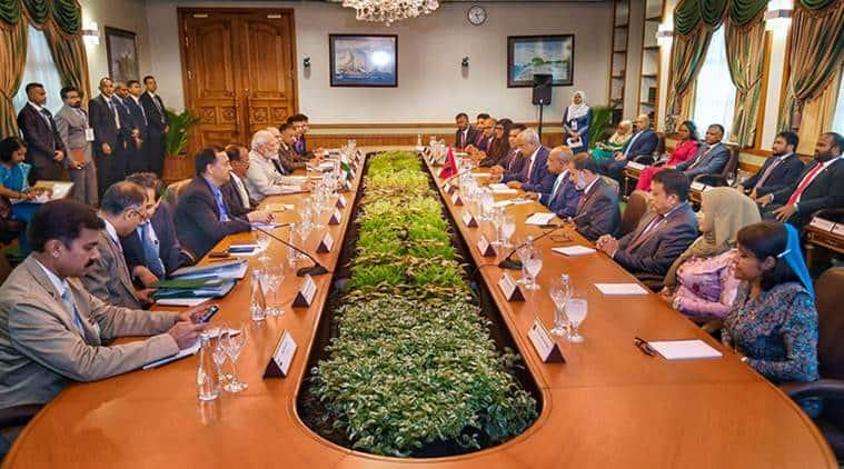 Modi, Modi in Maldives, Modi maldives, modi maldives news, modi in maldives, ibrahim solih, ibrahim solih modi, modi maldives pacts, modi today news, indian express