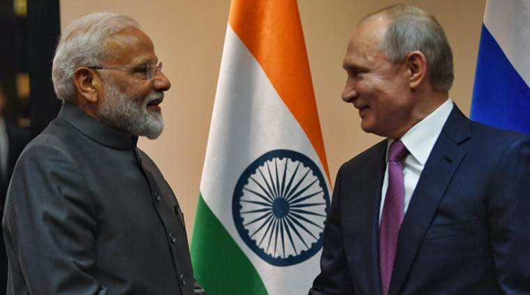 modi, modi in bishkek, sco summit, sco summit 2019, narendra modi Vladimir Putin meeting, Modi russia visit, Indian express
