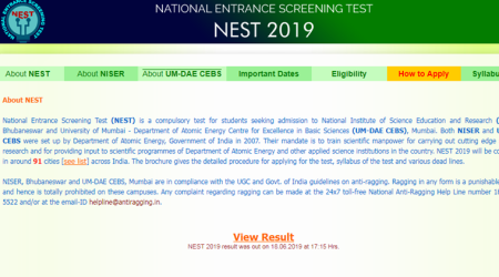 nest 2019, nest result, nest result 2019, nest 2019 results, nest results 2019, nestexam.in, nest admssion, NISER admission, NISER entrance exam, college admission, University of mumbai, university of mumbai admission, university of mumbai entrance exam, nest 2109, nest exam date, education news, indian express news