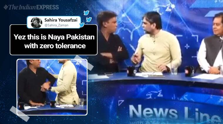 PTI leader attack journalist tv, tv show panellist fight, pak tv show leader attack journalist, panellist fight on tv, Masroor Siyal attack Imtiaz Khan Faran, viral videos, indian express