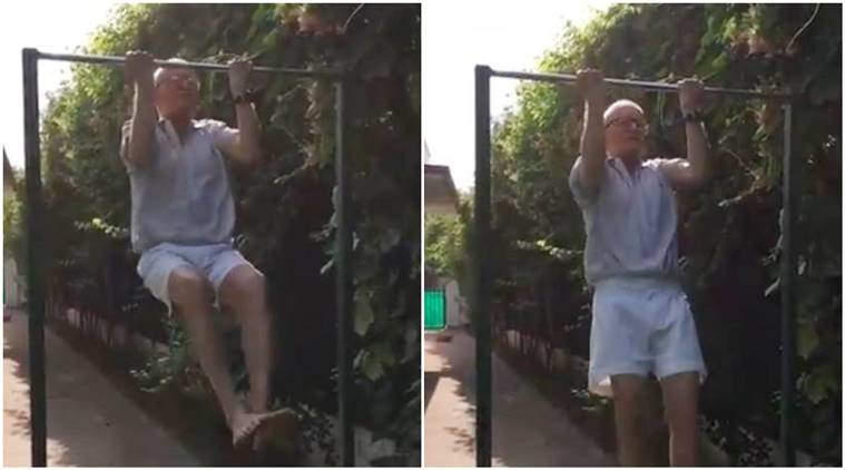 fitness, fitness challenge, fitness viral video, pull ups, Air Marshal, pull ups viral video, trending, indian express, indian express news