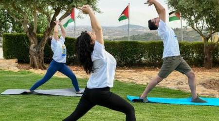 Yoga day, yoga day in Palestine, Yoga day celebration in Palestine, Palestine yoga day celebrations,Representative of India in Palestine, ROI, International Yoga day, Yoga day 2019, International Yoga day 2019, Palestine news World news, Indian Express news