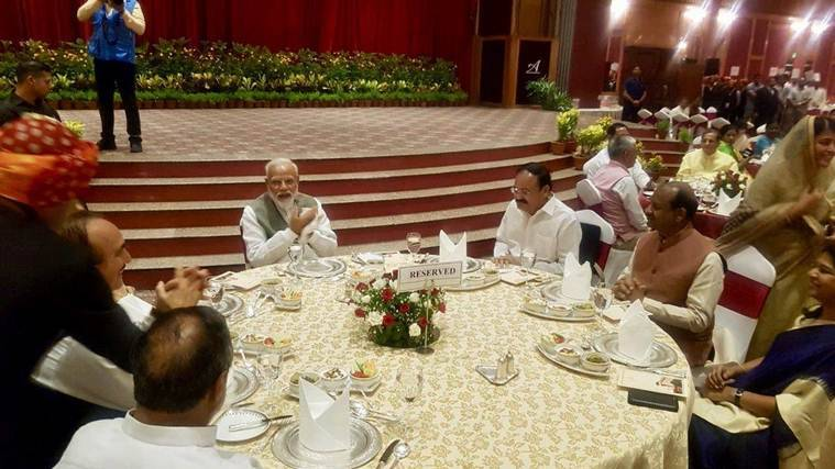 PM Modi hosts dinner for MPs; Sonia, Rahul, Akhilesh give it a miss