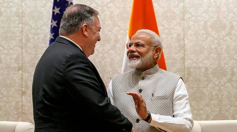 mike pompeo, mike pompeo pm modi, Mike Pompeo India visit, narendra modi, mike pompeo on religious freedom, Mike Pompeo on India, US India trade, mike pompeo in India, mike pompeo to visit india, Pompeo Jaishankar meeting, Pompeo Modi meeting, US India relations, India News, Indian Express
