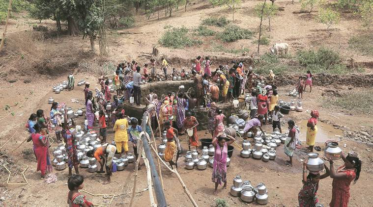 water shortage, heatwave, marathwada, vidarbha, maharashtra water shortage, gujarat water shortage, karnataka, india news, indian express