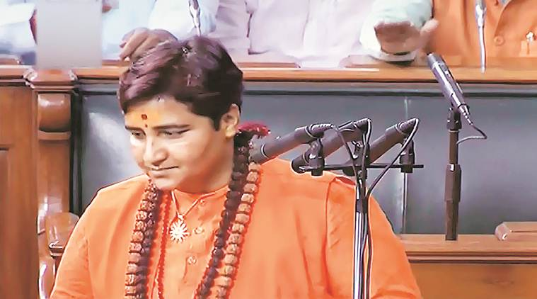 Pragya Thakur, Pragya Thakur Godse remark, Godse remark Pragya Thakur, Pragya Thakur remark on Godse, India news, Indian Express