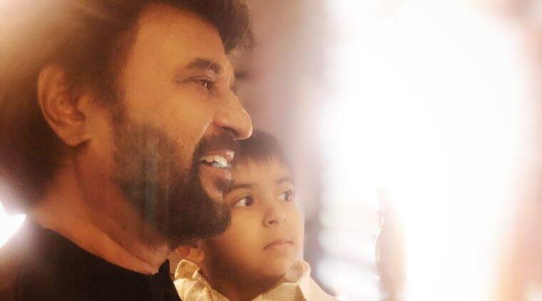 Rajinikanth with his grandson Ved