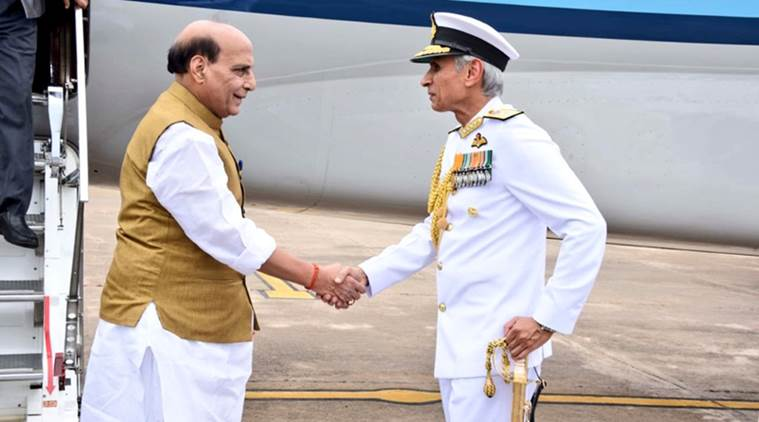 Rajnath Singh, Rajnath Singh, Eastern Naval Command, Indian Navy, Defence Minister, INS Dega, India News, Indian Express