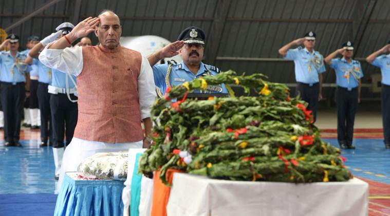 an-32 crash, iaf an-32, mortal remains of an-32, defence minister, rajnath singh, homage to an-32 personnel, india news, indian express