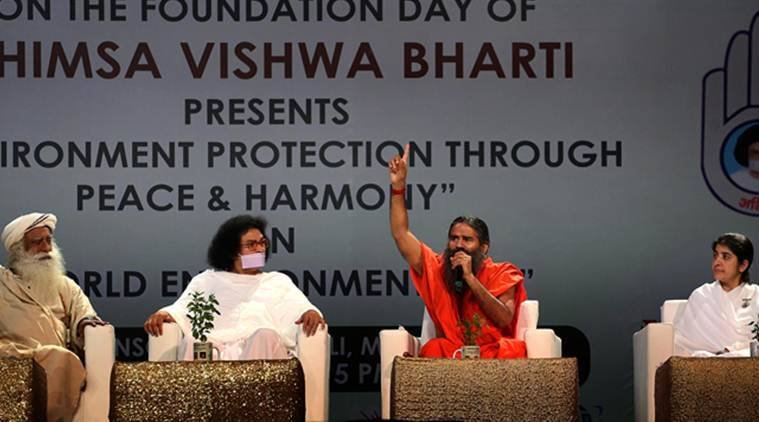baba ramdev, ramdev in mumbai, World Environment Day, Ahimsa Vishwa Bharati, Sadhguru Jaggi Vasudev, Acharya Lokesh, B.K.Shivani