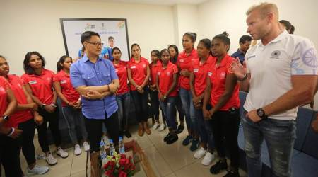Kiren Rijiju, Sports Minister, FIH world cup winners, Indian Olympic Association, Thomas Bach, women's hockey team, Sports News, Indian Express