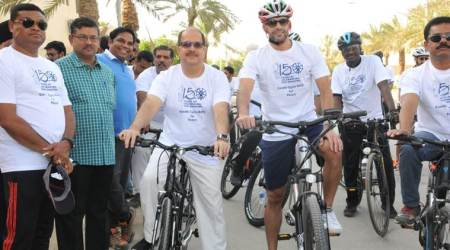 india saudi arabia, mahatma gandhi, indian embassy in saudi arabia, india in saudi arabia, saudi arabia in india, india saudi arabia relations, cycle rally in saudi arabia, world news, india news, Indian Express