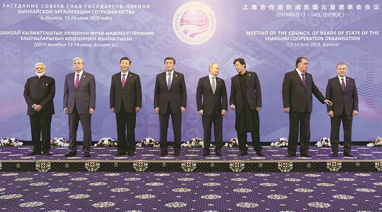 pm modi, modi bishkek summit, sco summit, sco summit bishkek, modi at sco summit, modi on trade wars, modi on unilateralism, modi on protectionism, modi in bishkek, us india trade war, indian economy sco summit, indian express news