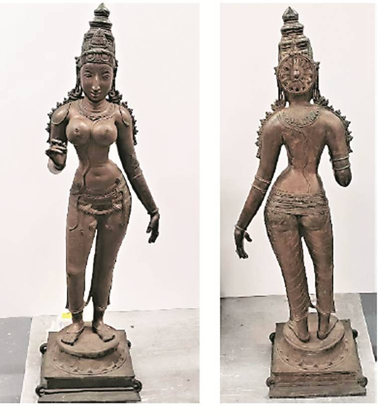stolen art, art auctions, Indian stolen artefacts, Indian stolen artefacts in US, Hindu statues, Indian express