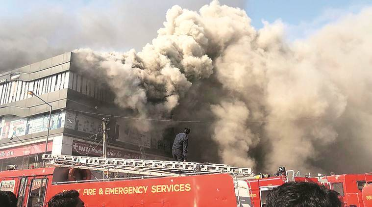 Surat fire, Surat coaching centres, Takshashila Arcade, Surat fire department, Gujarat news, Indian Express