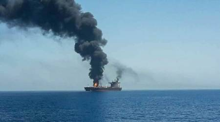 iran, us, tanker attack, gulf of oman tanker attack, gulf of oman, us iran, us iran conflict, us iran nuclear deal, us sanctions, us iran ties, two tankers attacked, latest news, world news, indian express news
