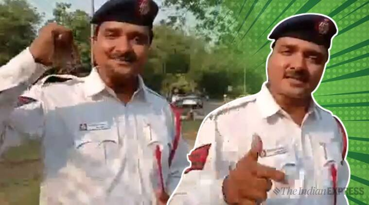 delhi cop, delhi cop rap, delhi cop rap video, delhi cop gully boy video, new road safety cop rap, rap cop video, indian express