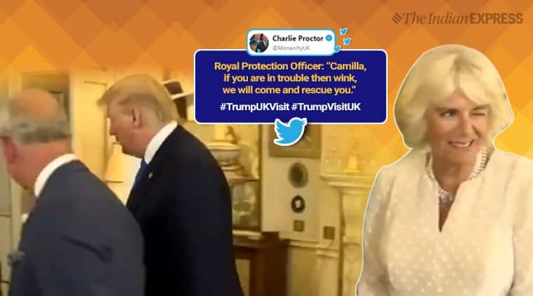 donald trump, trump uk visit, Camilla Parker Bowles, camillia wink, camillia wink trump visit, viral videos, indian express, world news, funny news,