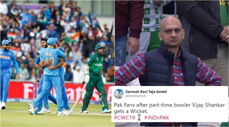 india vs pakistan, ind v pak, icc world cup, vijay shankar, vijay shankar wicket, vijay shankar bowling, vijay shankar memes, vijay shankar bhuvi over, cricket memes, sports news, indian express